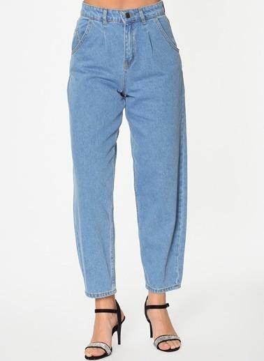 Loves You Tek Pile Yüksek Bel Mom Jean Pantolon Mavi